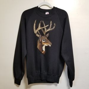 Vintage Black Sweatshirt Deer Head Painting Large